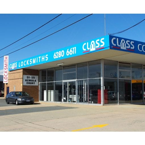 This pic of CLASS Locksmiths' Showroom and Workshops located at 51 Kembla Street Fyshwick ACT 2609 will help you recognise us