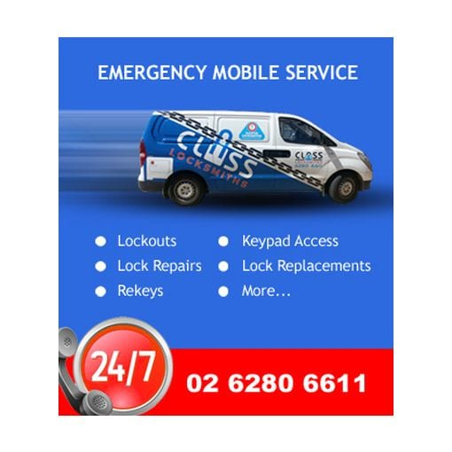 CLASS Locksmiths providing fast efficient mobile locksmith emergency service 24 hours 7 days a week