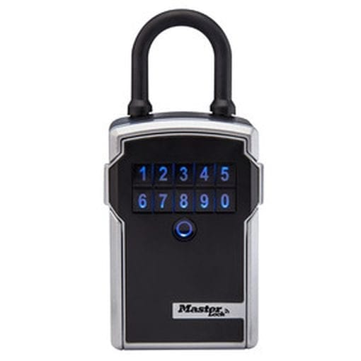 Depicts the Master Smart Connected Lock Box and its combination keypad - open and manage and monitor activity via smart phone app - share access