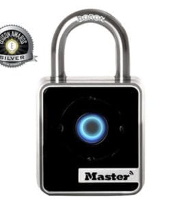 Depicts the Master Bluetooth Smart Connected Padlock for indoor use - no key or combination - opens with bluetooth - monitor activity via smart phone app