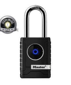Depicts the Master Bluetooth Smart Connected Padlocks for outdoor use - no key or combination - opens with bluetooth - monitor activity via smart phone